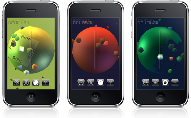 Screenshots of Drumball on an iPhone