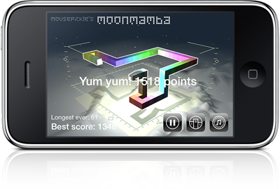Screenshot of Moon Mamba on an iPhone