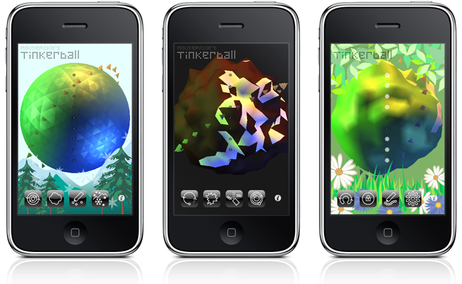 Screenshots of Tinkerball on an iPhone
